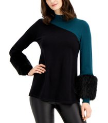 alfani colorblocked sweater with faux-fur cuffs, created for macy's