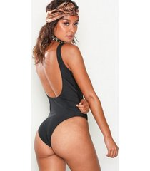 nly beach low back swimsuit baddräkter svart