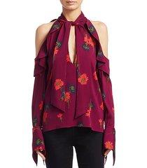 adrienne floral-print silk top