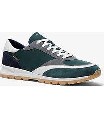 mk sneaker liam in gabardine di nylon e pelle scamosciata - abete (verde) - michael kors