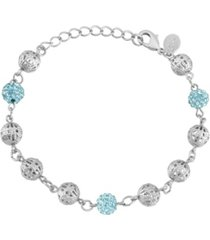 2028 silver-tone aqua fireball and filigree beaded bracelet