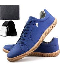 sapatenis touro boots sw  azul + carteira + cinto - azul - masculino - sintã©tico - dafiti