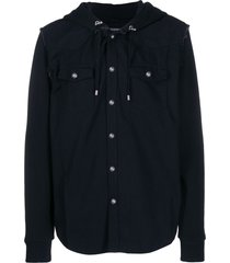 balmain plain hooded shirt - black