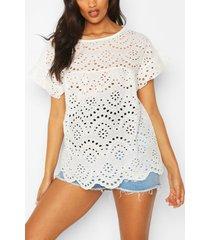 maternity broiderie anglais smock top, white