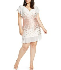 plus size women's chi chi london esmee jacquard v-neck cocktail dress