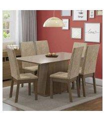 conjunto sala de jantar madesa thaís mesa tampo de madeira com 6 cadeiras rustic/crema/imperial