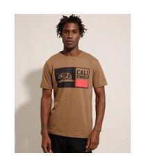 "camiseta california"" manga curta gola careca marrom"""