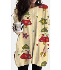 camicetta casual da donna con scollo a maniche lunghe con stampa natalizia