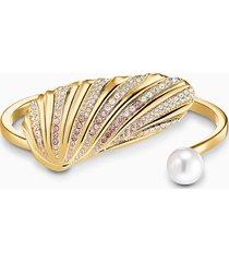 bracciale rigido shell, multicolore chiaro, placcato color oro