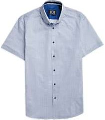 joe joseph abboud repreve® blue circle dot short sleeve sport shirt