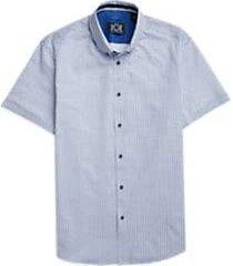 joe joseph abboud repreve® blue circle dot short sleeve sport shirt