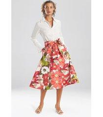 natori anemone garden button down skirt, skirts for women, cotton, size l
