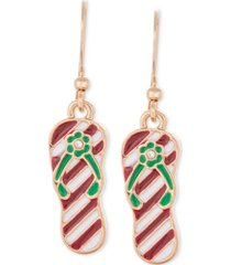 holiday lane gold-tone pave red & green striped flip-flop drop earrings, created for macy's
