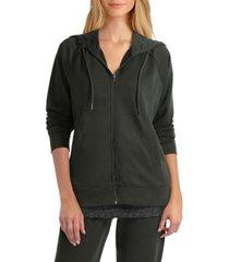 studio women's long sleeves zip front hoodie jacket