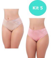 kit com 5 calcinha grande feminina lumi store detalhe em renda calçola senhora