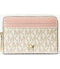 mk portafoglio piccolo in pelle con logo - vanilla/soft pink - michael kors