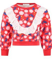 sonia rykiel red sweatshirt for girl with flowers