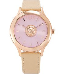 rose goldtone stainless steel & leather-strap watch