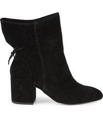 haiden suede drawstring block-heel booties