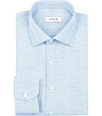 camicia da uomo su misura, canclini, flanella spiga larga azzurra, autunno inverno