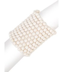 bone small beaded bracelet, women's, white, josie natori