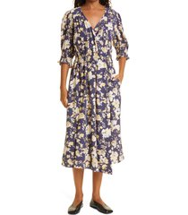 apiece apart lucinda floral wrap midi dress, size medium in painterly floral navy at nordstrom