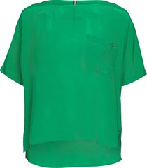 cupro t-shirt blouse ss blouses short-sleeved groen tommy hilfiger
