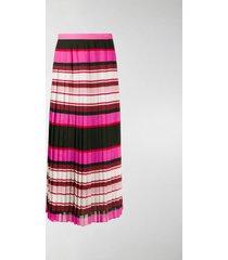 valentino striped pleated silk skirt
