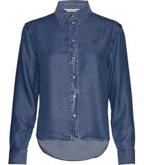 indigo tencel shirt overhemd met lange mouwen blauw calvin klein jeans