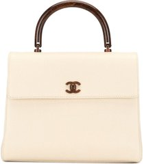 chanel pre-owned 2001 wooden details cc tote bag - white