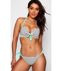 london stripe underwired push up plunge bikini, green