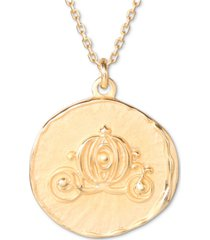 "disney cinderella carriage medallion 18"" pendant necklace in 18k gold-plated sterling silver"