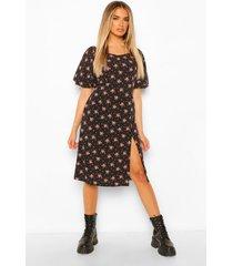 bloemenprint midi jurk met open schouders en pofmouwen, black