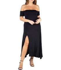 24seven comfort apparel women's plus size off shoulder dress