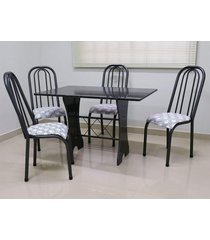 conjunto cozinha verona 1,20 com granito c/4 cadeiras roma alta açomix