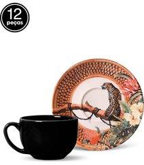 conjunto 12pçs xícaras de chá porto brasil coup pantanal branco