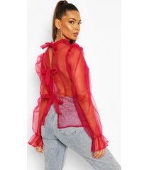 organza puff sleeve pussy bow blouse, wine