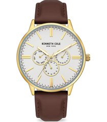 kenneth cole new york men's dress sport goldtone stainless steel & leather-strap watch