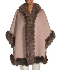 dyed fox fur-trim wool cape
