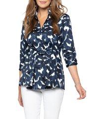 women's nic+zoe brushstrokes tie waist top, size xx-large - blue