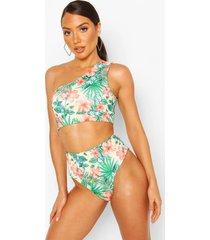 tropical floral one shoulder mix & match bikini top