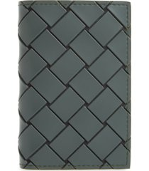 men's bottega veneta intrecciato rubber card case - grey