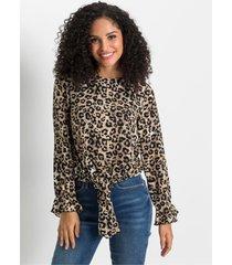 geknoopte blouse met animalprint