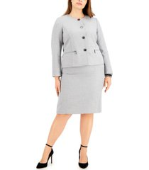 le suit plus size metallic tweed skirt suit