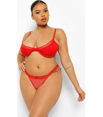 plus mesh beha en slip set, red