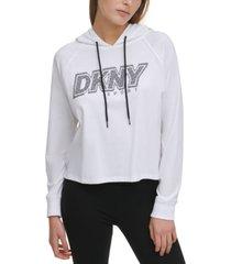 dkny sport cotton rhinestone-logo hoodie