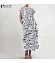 zanzea verano de las mujeres del cuello de o del lunar de las señoras del vestido de los vestidos más el tamaño de midi -blanco