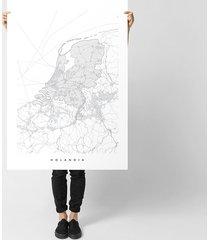 holandia - mapa holandii - plakat