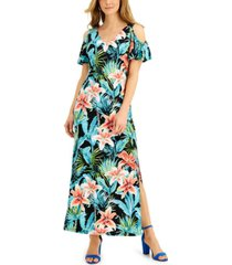 connected petite printed cold-shoulder maxi dress
