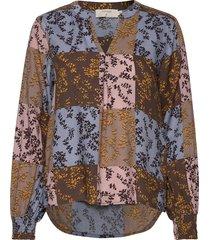 kittacr blouse blus långärmad brun cream
